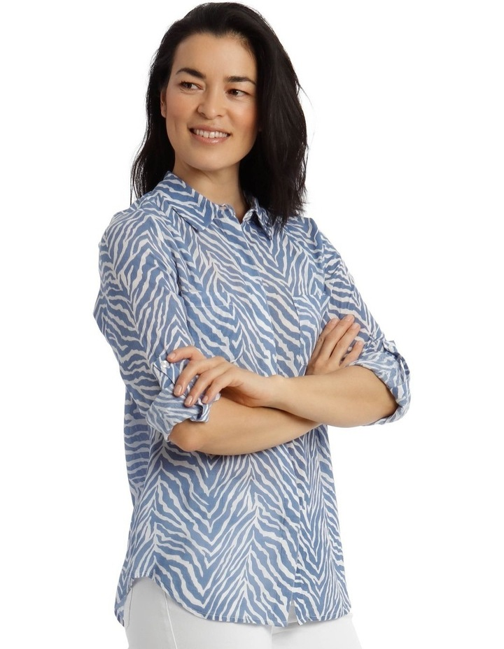Front Tuck Long Sleeve Shirt With Rolled Sleeve With Tab-Blues Print image 2