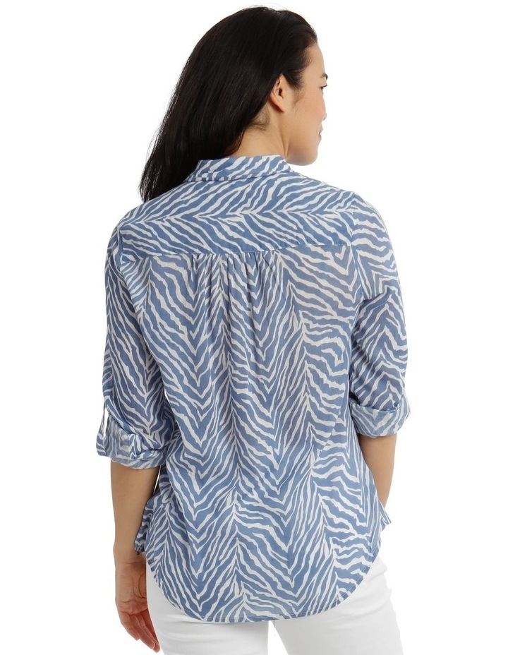 Front Tuck Long Sleeve Shirt With Rolled Sleeve With Tab-Blues Print image 3