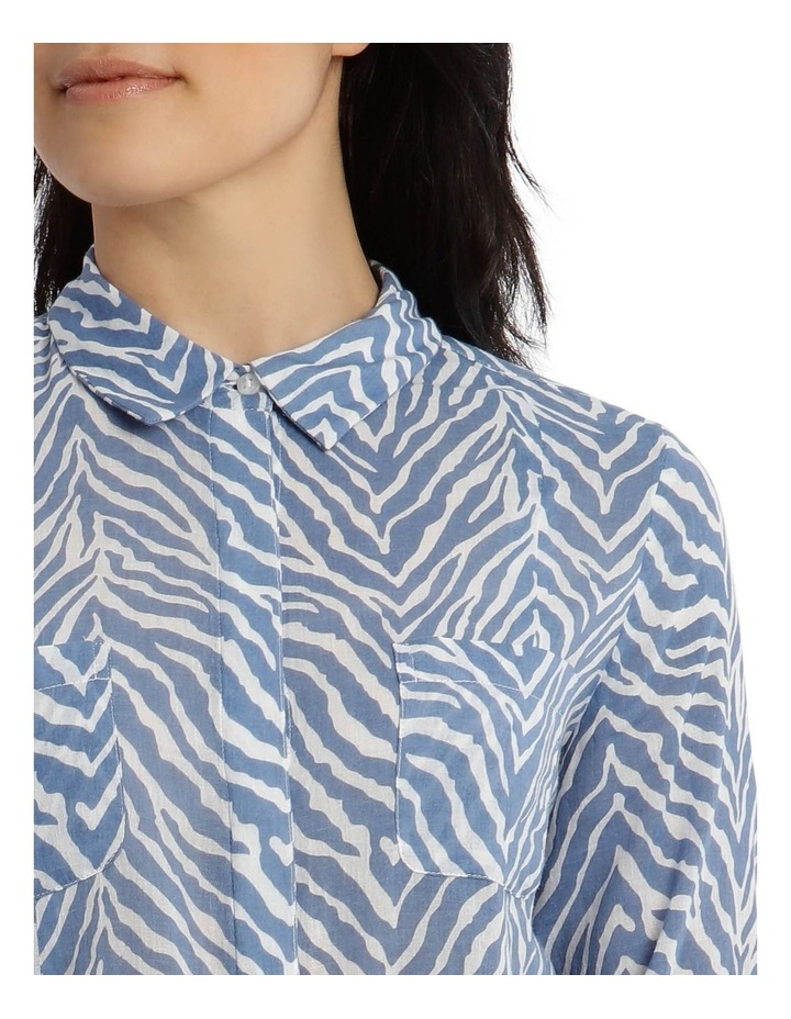 Front Tuck Long Sleeve Shirt With Rolled Sleeve With Tab-Blues Print image 4