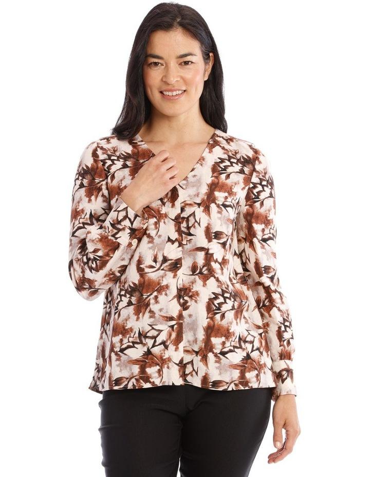 Collarless V-Neck Long Sleeve Shirt image 1