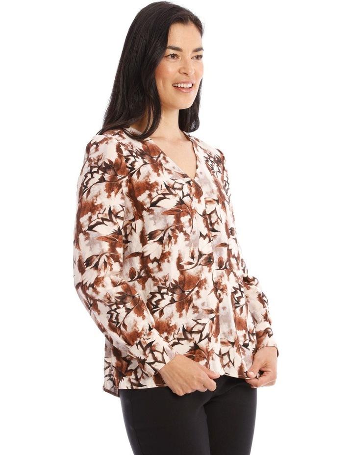 Collarless V-Neck Long Sleeve Shirt image 2