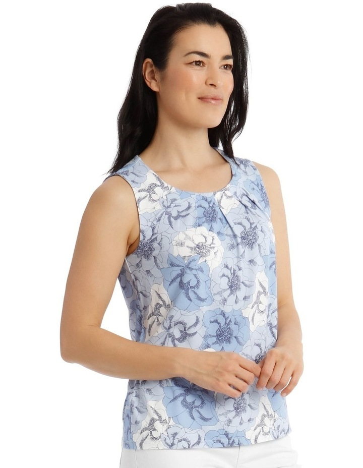 Round Neck Pleat Front Sleeveless Knit Top-Blue Floral image 2