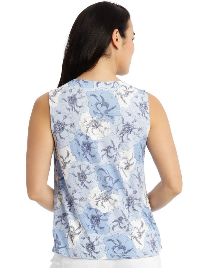 Round Neck Pleat Front Sleeveless Knit Top-Blue Floral image 3