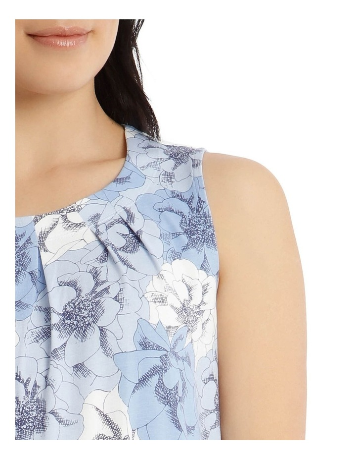 Round Neck Pleat Front Sleeveless Knit Top-Blue Floral image 4