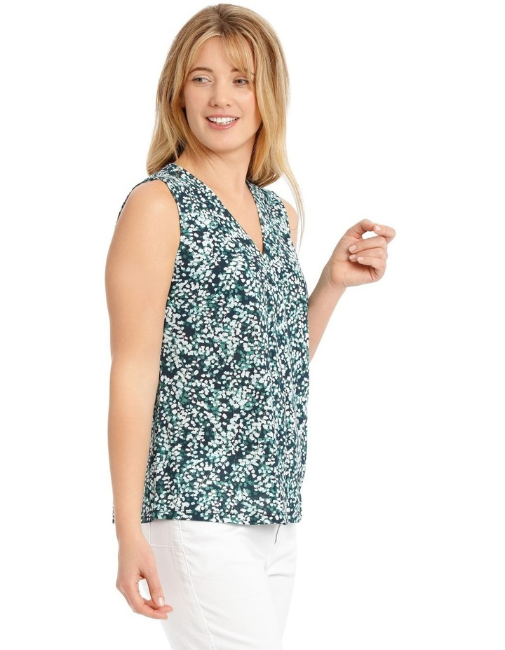 Pleat Front Sleeveless V-Neck Knit Top - Blue/Green Clover Print image 2