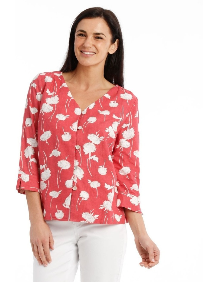 Vneck Button Front 3/4 Sleeve Top image 1