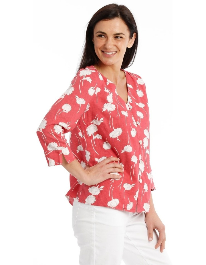 Vneck Button Front 3/4 Sleeve Top image 3