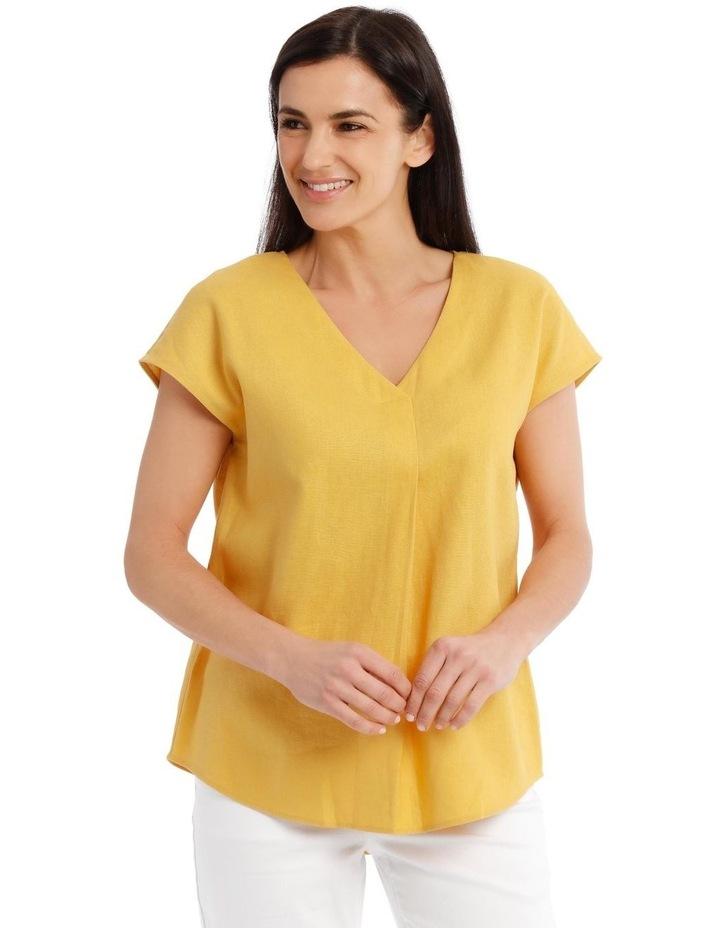Extended Short Sleeve Linen Blend V Neck Top image 1