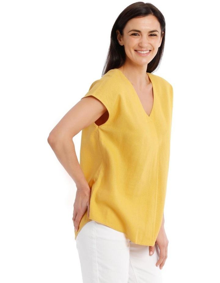 Extended Short Sleeve Linen Blend V Neck Top image 2