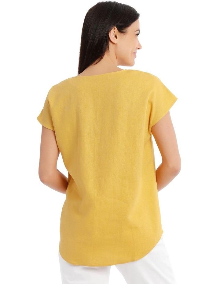 Extended Short Sleeve Linen Blend V Neck Top image 3
