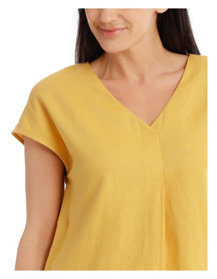 Extended Short Sleeve Linen Blend V Neck Top image 4