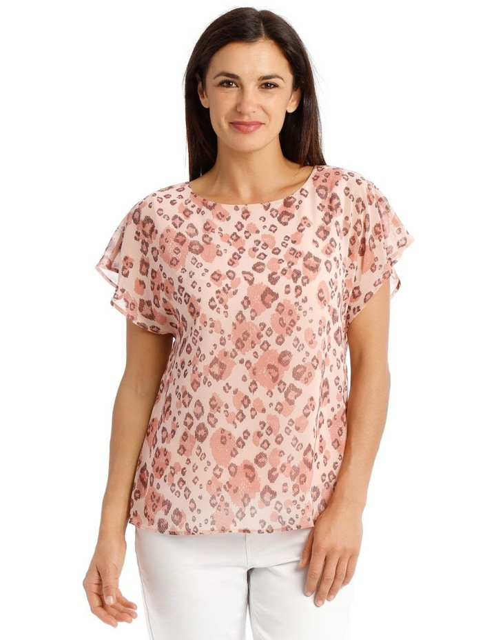 Sheer Dropped S/S Cuffed Woven Top With Lining-Blush Animal Print image 1