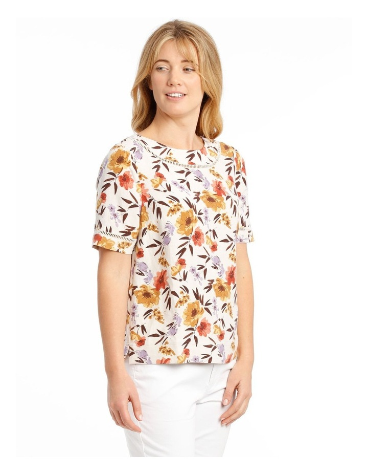 Short Sleeve Shell Top With Ladder Lace Trim image 2