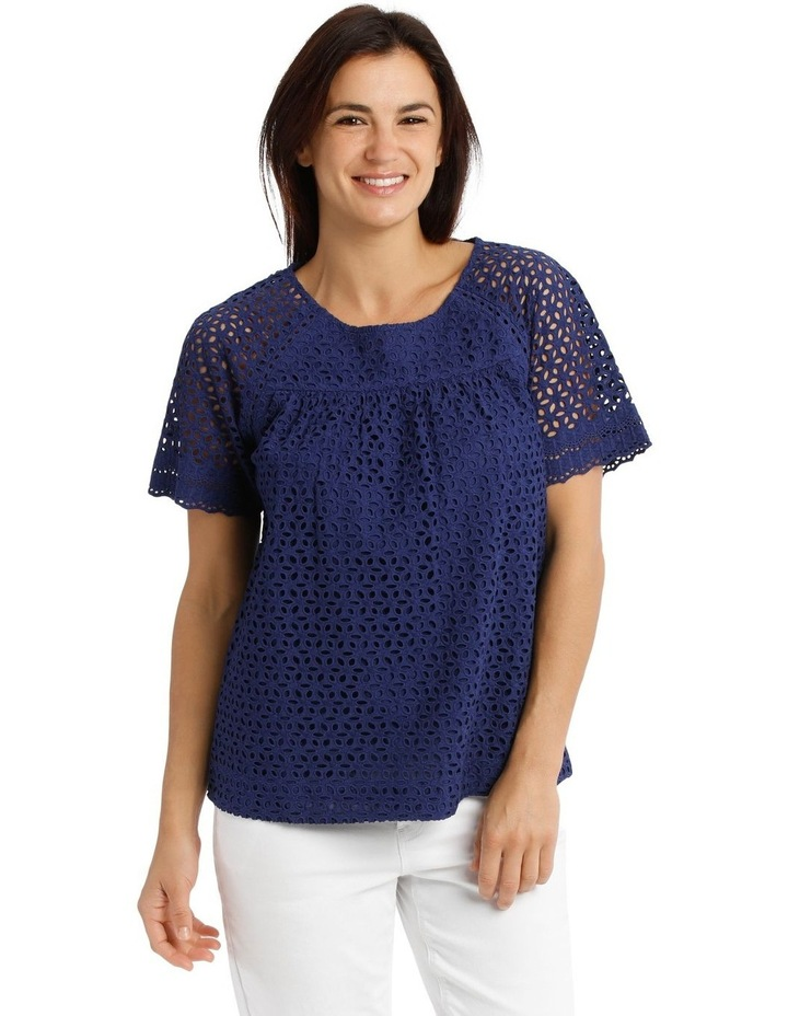 Short Sleeve Broderie Top With Yoke image 1