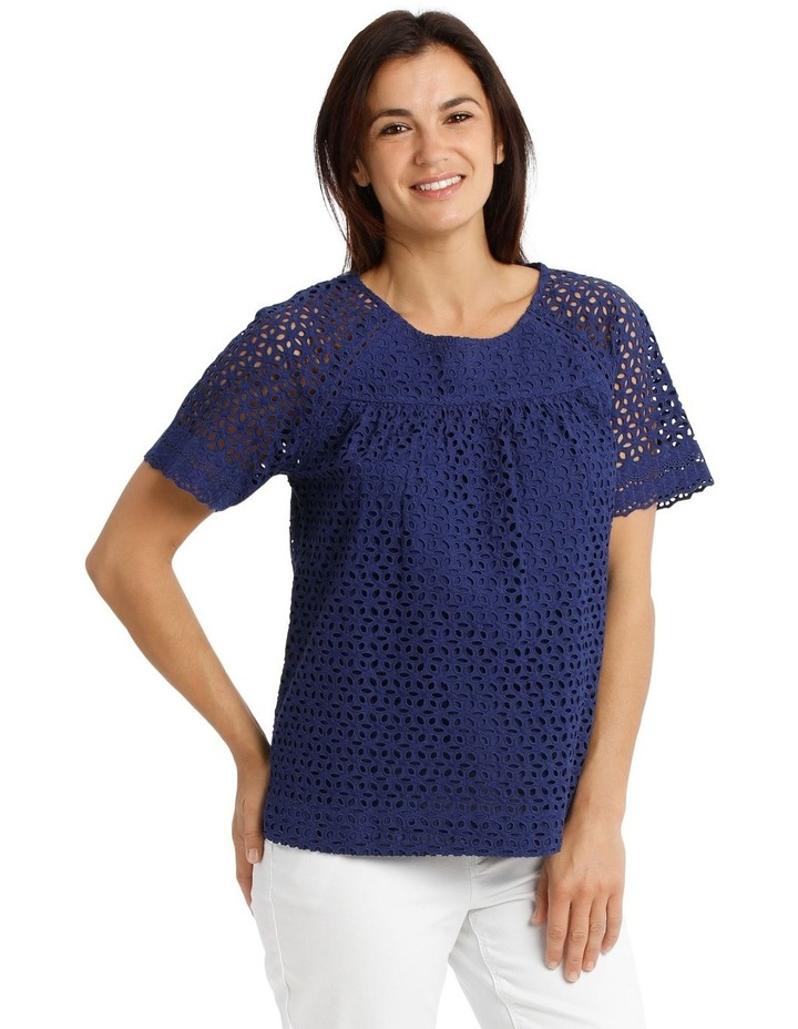 Short Sleeve Broderie Top With Yoke image 2