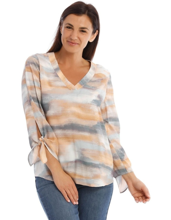 V-Neck Long Sleeve Top With Split Tie Sleeves image 1