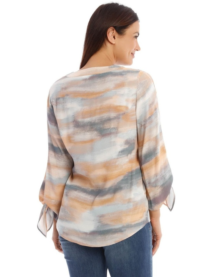 V-Neck Long Sleeve Top With Split Tie Sleeves image 3