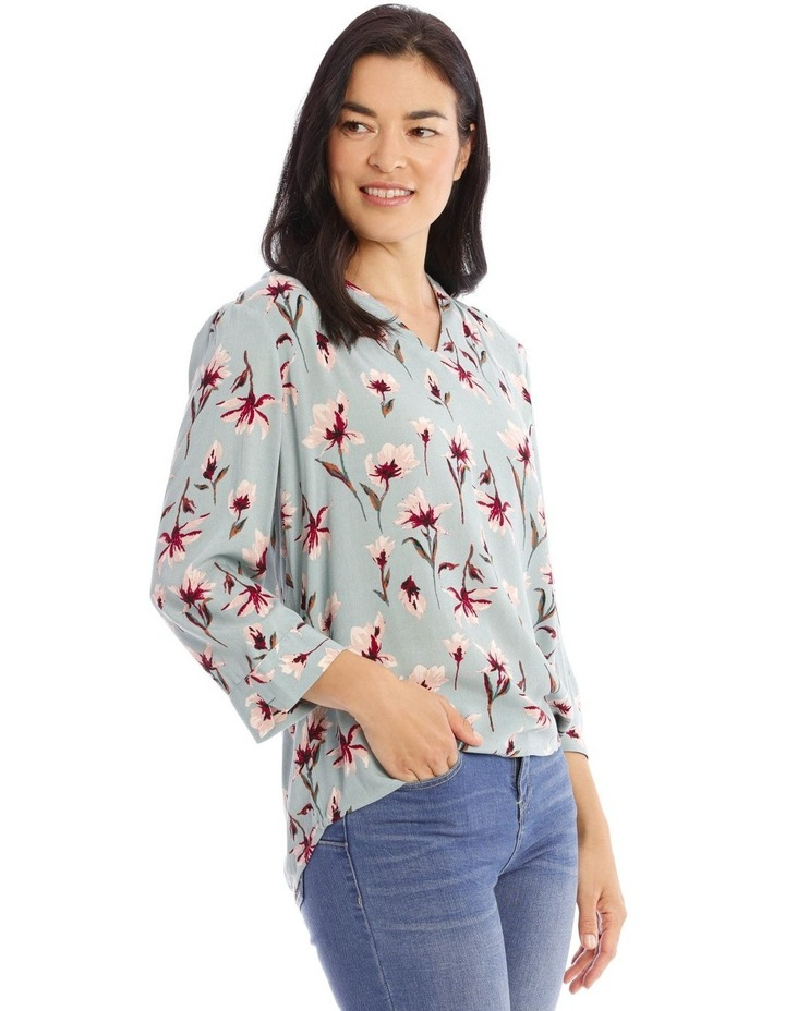 Moss Floral Tuck V-Neck Top image 2