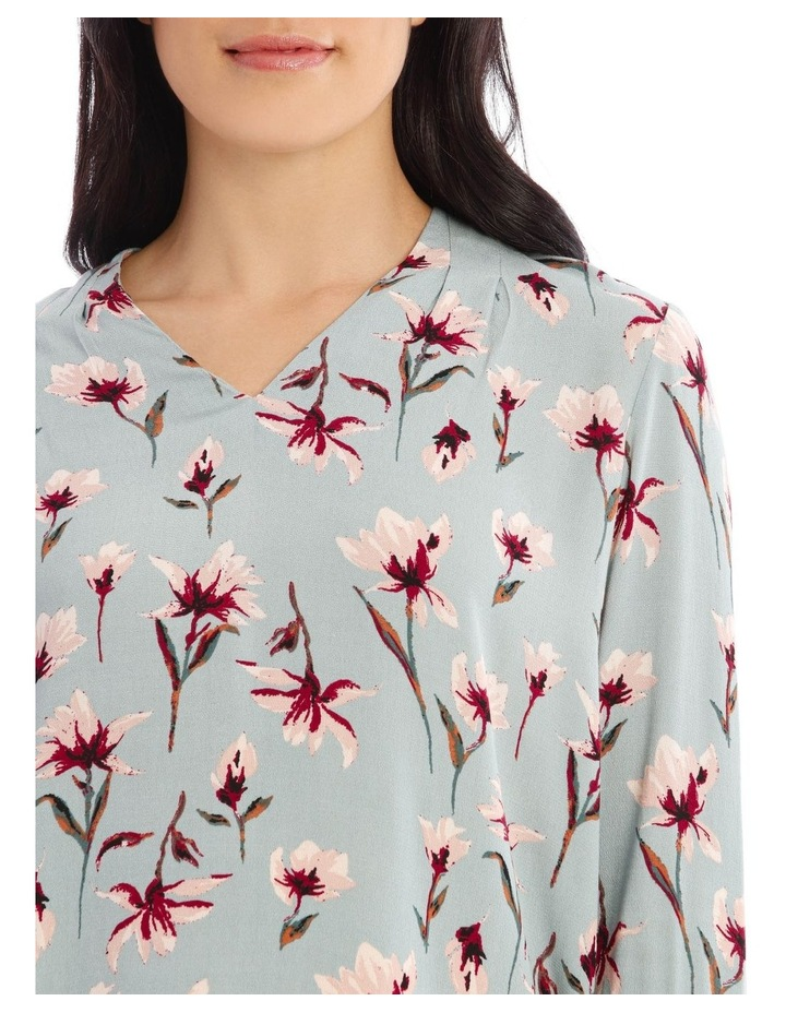 Moss Floral Tuck V-Neck Top image 4