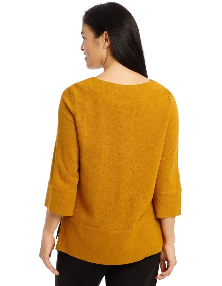 Mottled Marble 3/4 Sleeve Top With 3/4 Sleve And Side Splits image 3