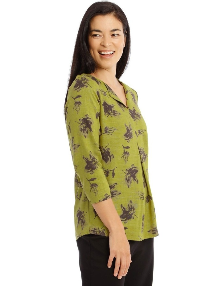 Olive Grove 3/4 Sleeve Split Neck Top With Central Dart image 2