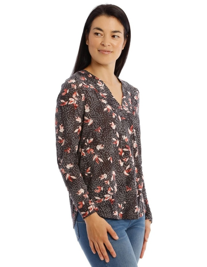 Confluence V Neck Pleat Front Long Sleeve Burnout Tee image 2