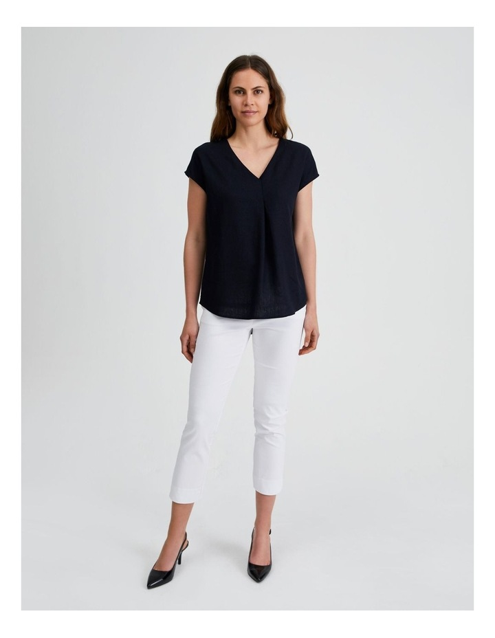 Extended Short Sleeve Linen Top image 4
