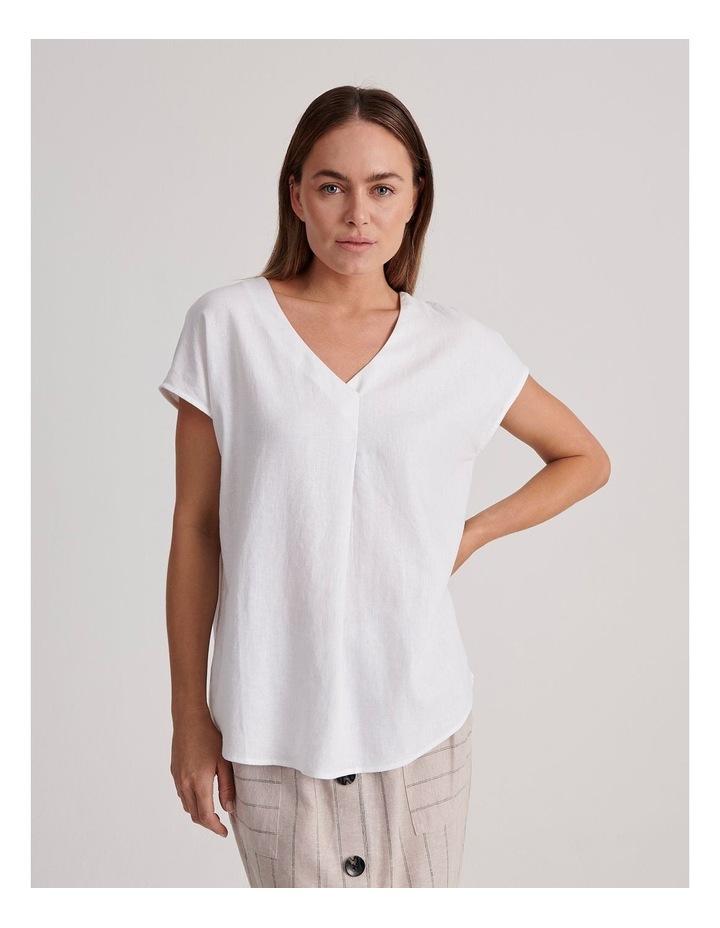 V-Neck Short Sleeve Linen Blend Top image 1