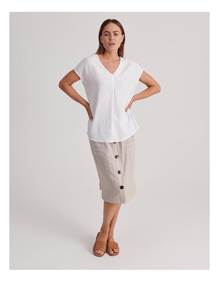 V-Neck Short Sleeve Linen Blend Top image 2