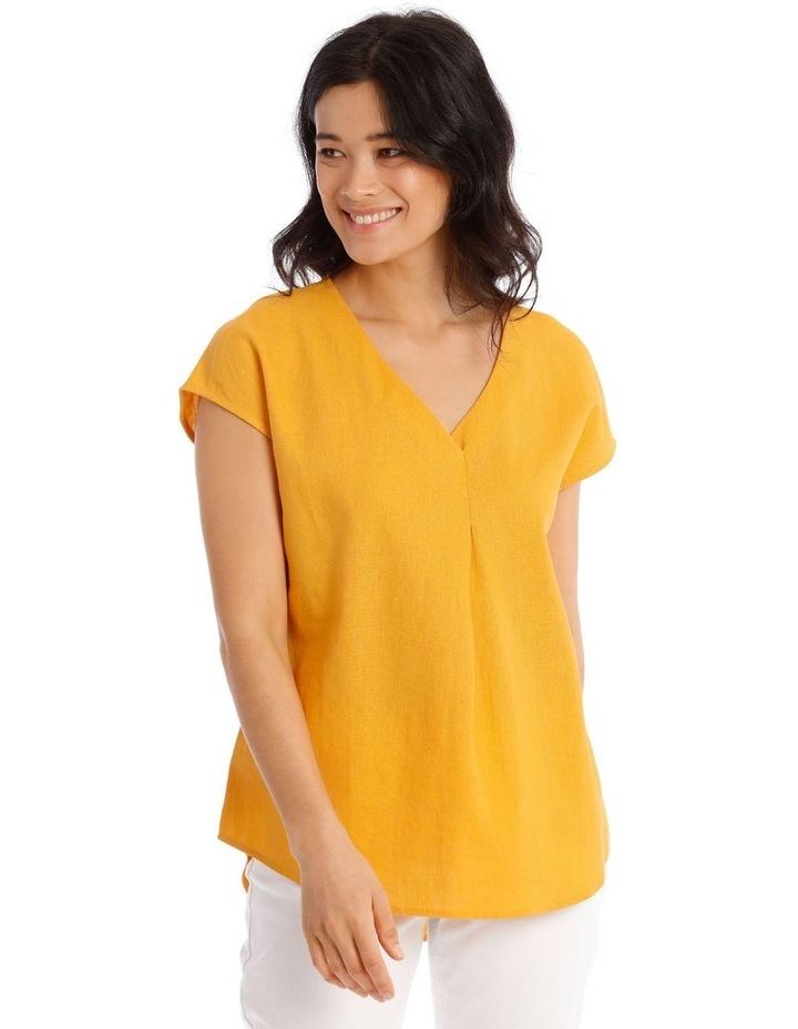 xtended Short Sleeve Linen Blend Woven V-Neck Pleat Front Top image 1