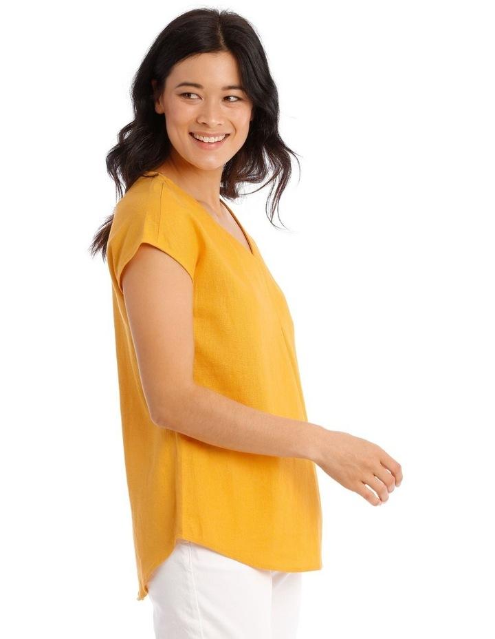 xtended Short Sleeve Linen Blend Woven V-Neck Pleat Front Top image 2