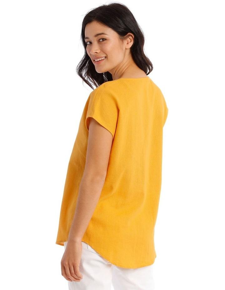 xtended Short Sleeve Linen Blend Woven V-Neck Pleat Front Top image 3