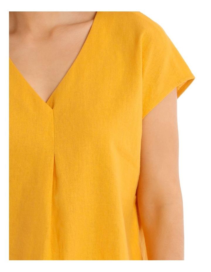 xtended Short Sleeve Linen Blend Woven V-Neck Pleat Front Top image 4