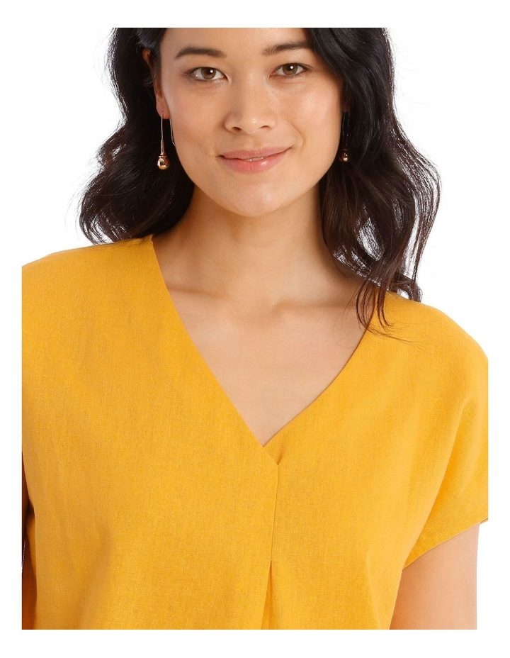 xtended Short Sleeve Linen Blend Woven V-Neck Pleat Front Top image 5