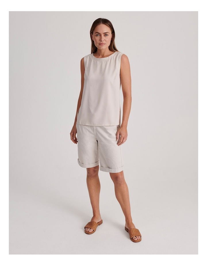 Sleeveless Woven Front With Knit Back Tank image 2