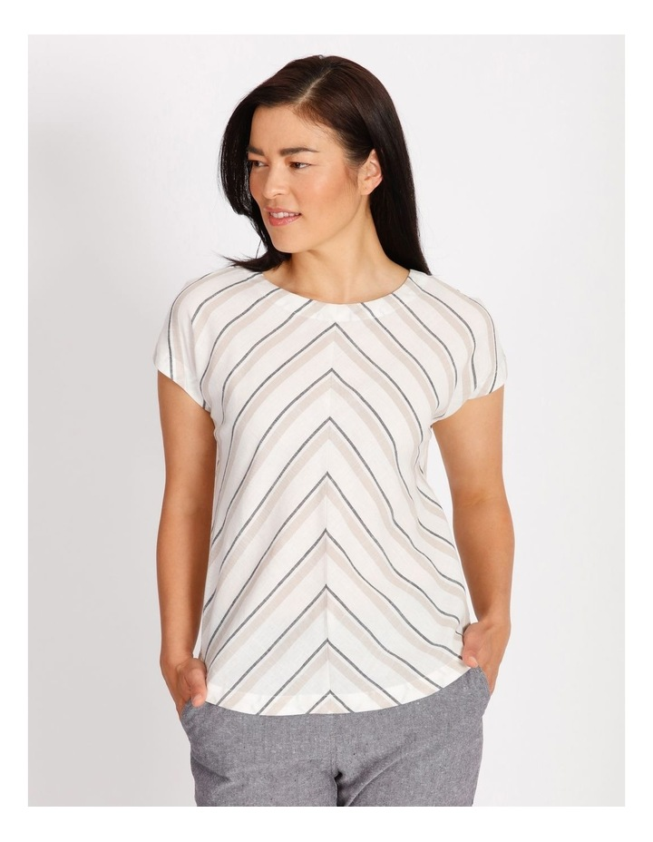 Etched Extended Short Sleeve Top With Diagonal Stripe Front image 1