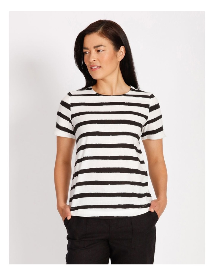 Etched Short Sleeve Top With Side Splits image 1