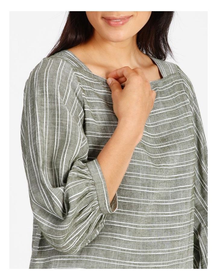 Square Neck 3/4 Gathered Sleeve Vertical Yarndye Stripe Top image 4