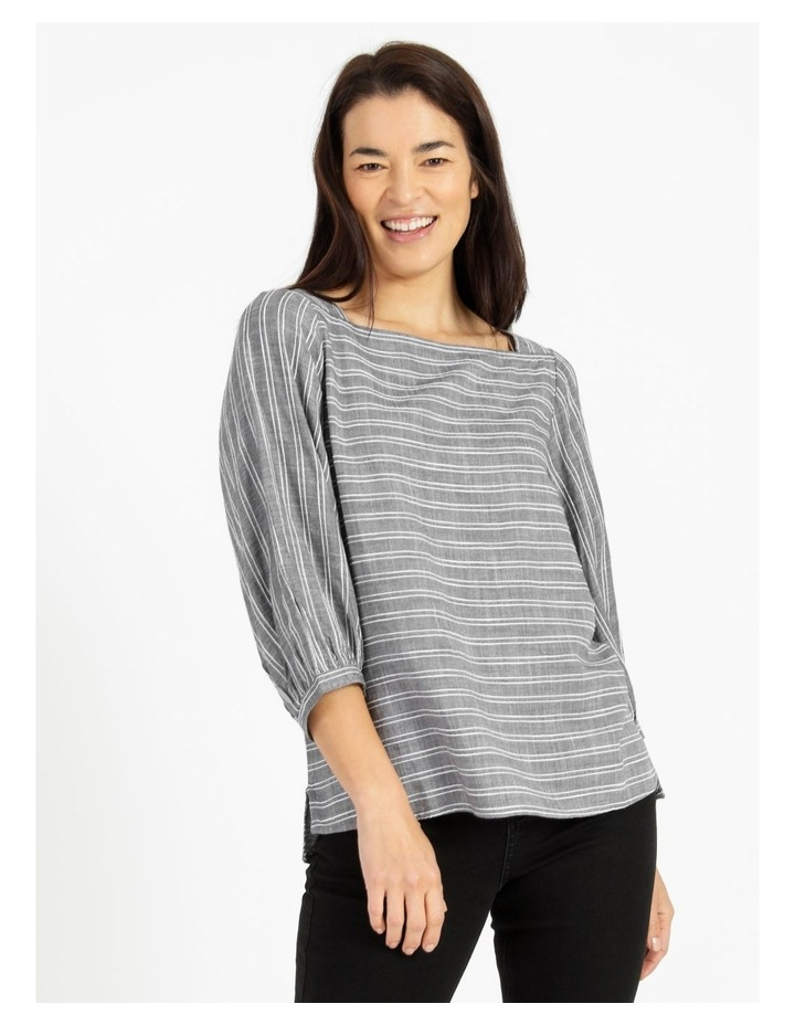 Square Neck Gathered Sleeve Top Charcoal image 1