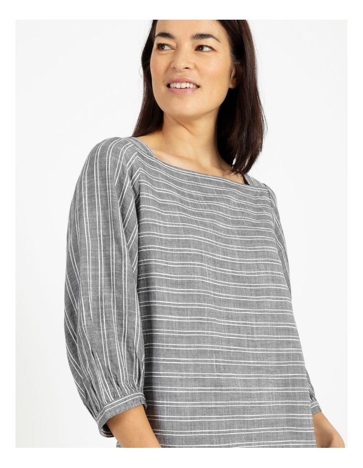 Square Neck Gathered Sleeve Top Charcoal image 3