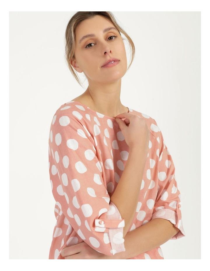 Spot 3/4 Rolled Raglan Sleeve Top Pink/Ivory image 1