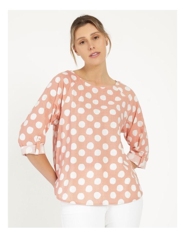 Spot 3/4 Rolled Raglan Sleeve Top Pink/Ivory image 2