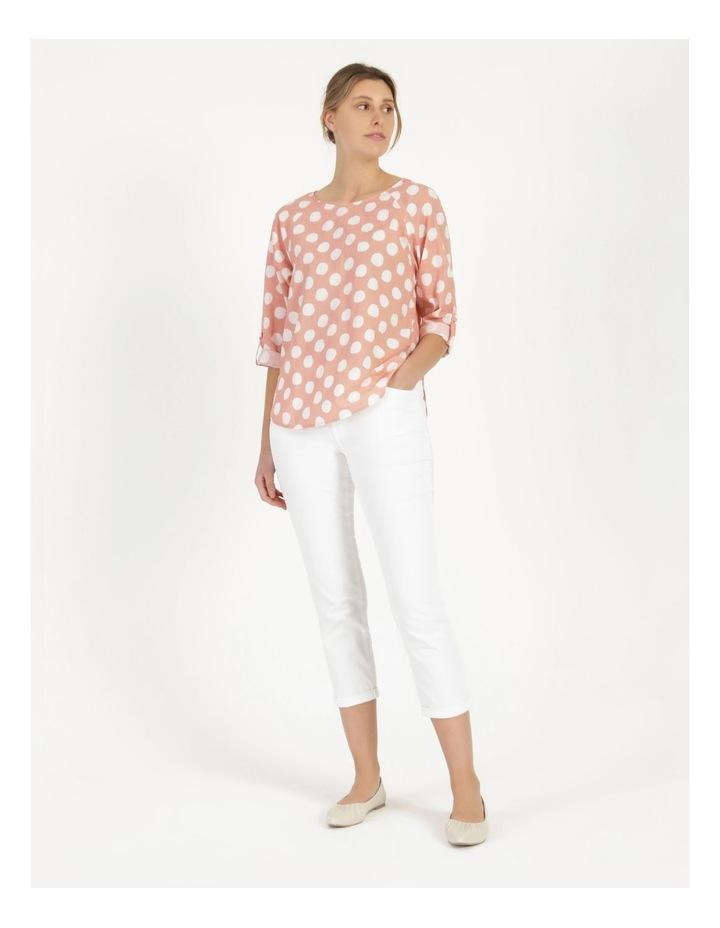 Spot 3/4 Rolled Raglan Sleeve Top Pink/Ivory image 3