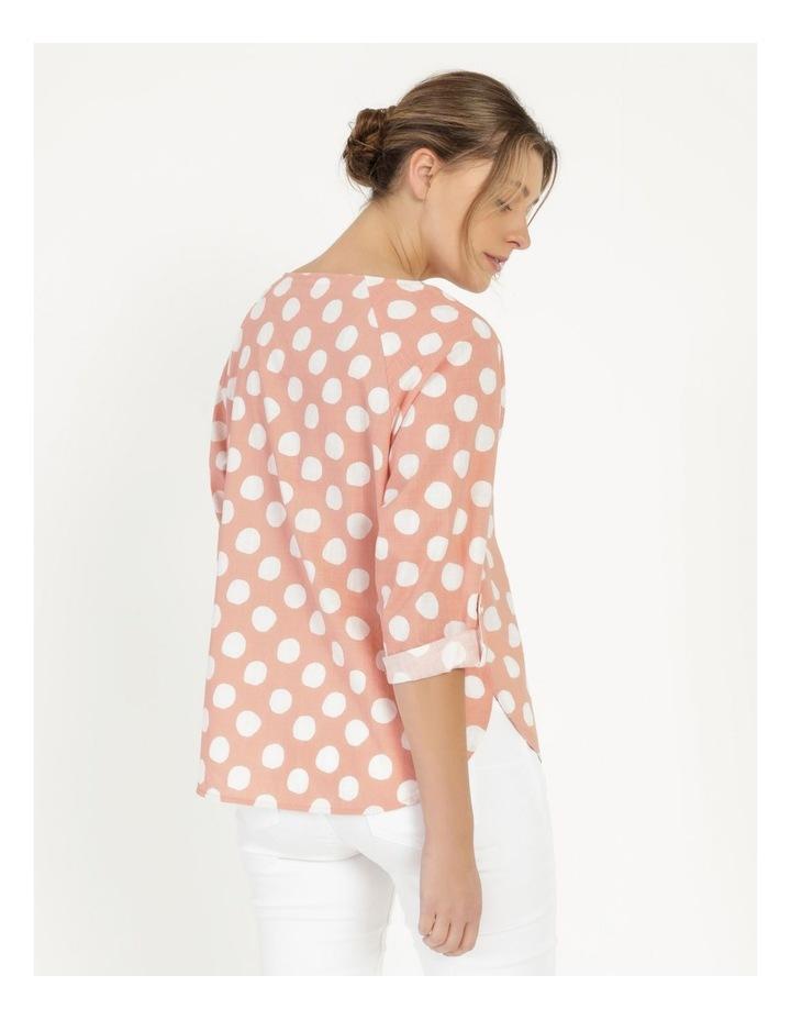 Spot 3/4 Rolled Raglan Sleeve Top Pink/Ivory image 4