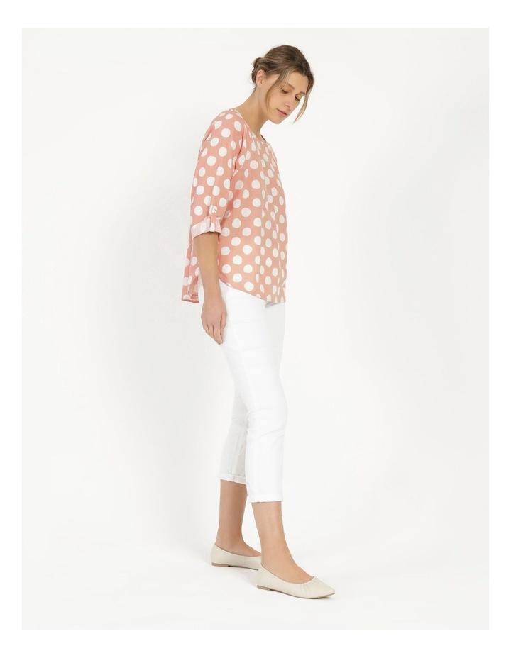 Spot 3/4 Rolled Raglan Sleeve Top Pink/Ivory image 5