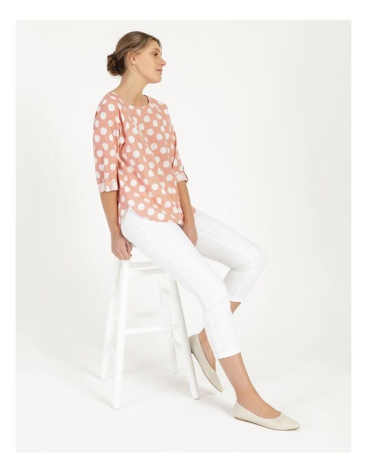 Spot 3/4 Rolled Raglan Sleeve Top Pink/Ivory image 6