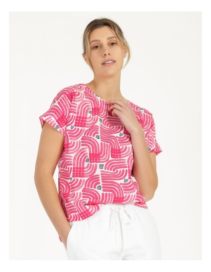 Extended Short Sleeve Curved Hem Top Pink/Ivory/Navy Swirl image 1