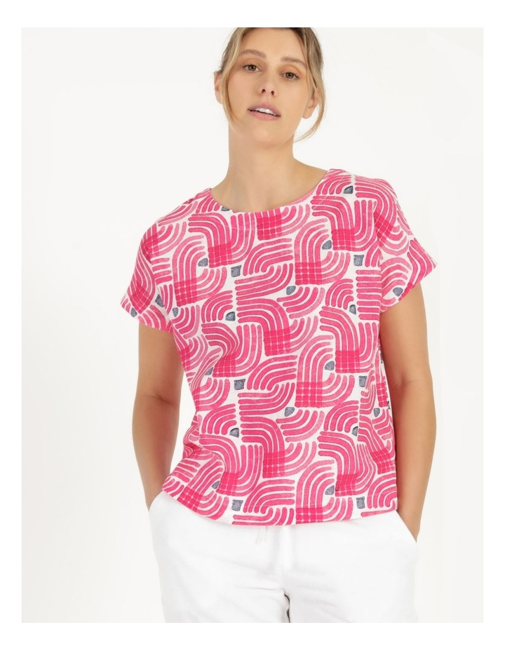Extended Short Sleeve Curved Hem Top Pink/Ivory/Navy Swirl image 3