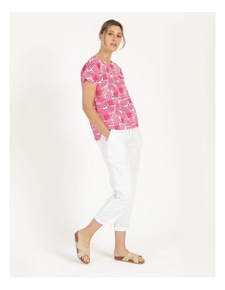 Extended Short Sleeve Curved Hem Top Pink/Ivory/Navy Swirl image 4