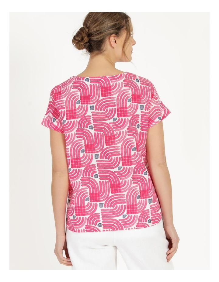 Extended Short Sleeve Curved Hem Top Pink/Ivory/Navy Swirl image 5
